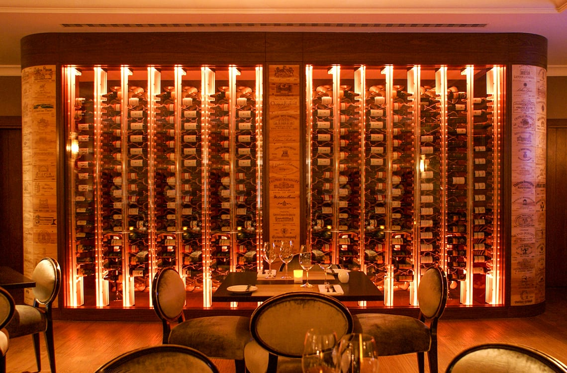 Restaurant Wine Cellar with Acrylic Wine Racks