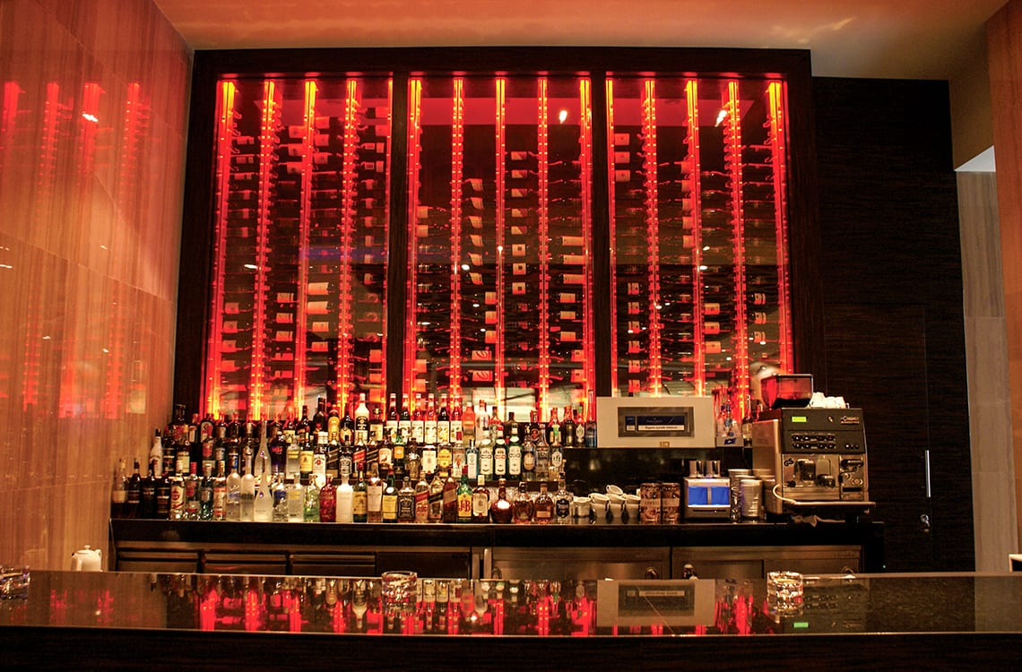 Wine Wall Behind the Bar - Borsa Restaurant