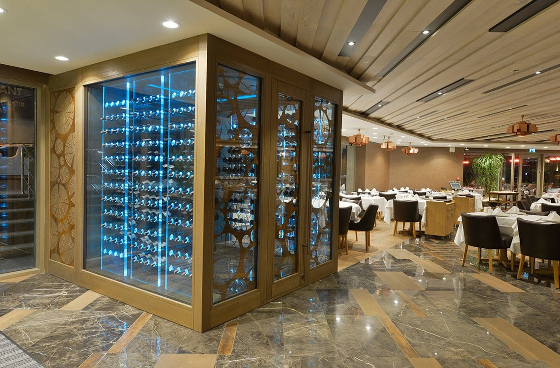 Glass Wine Cellar with Acrylic Racks - Radisson Blue