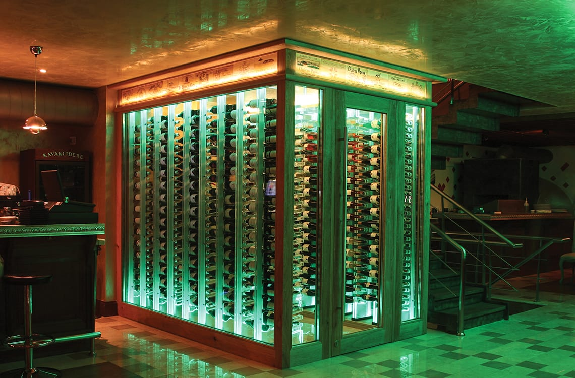 Glass Wine Cellar with Acrylic Wine Racks