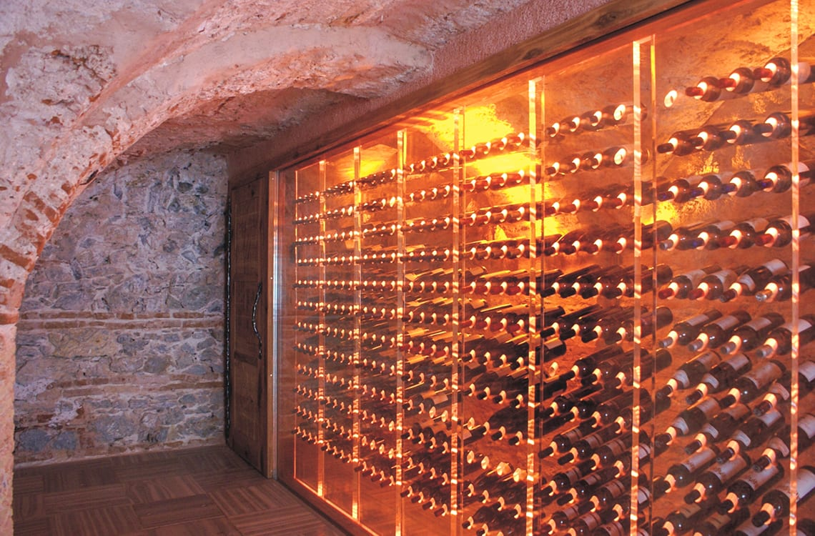 Modern Wine Cellar in Rustic Style Restaurant