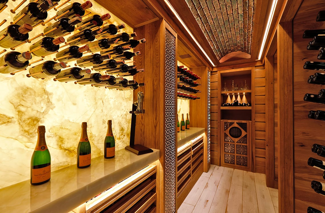 Residential Wine Cellar with Back-lit Onyx