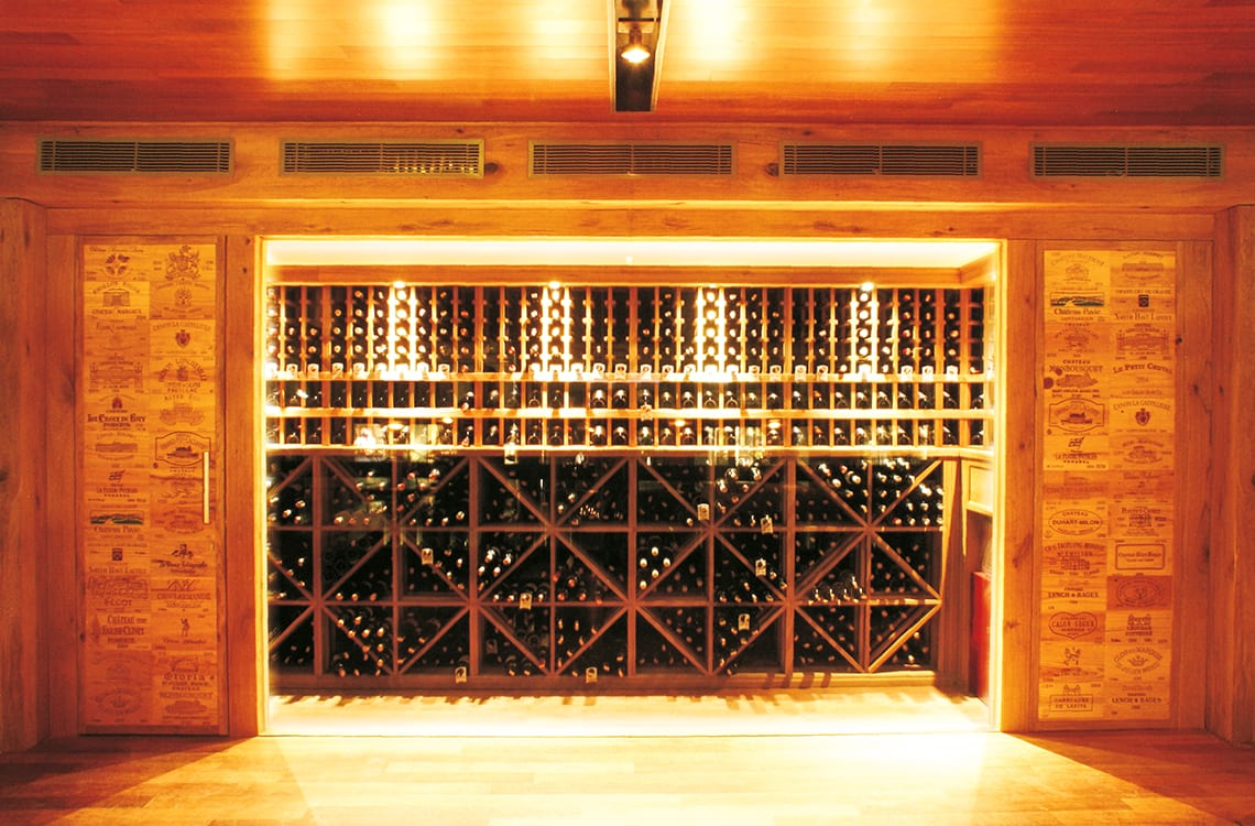 Restaurant Cellar with Traditional Wooden Racks