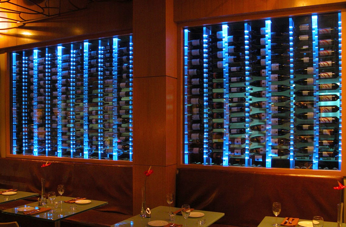 Glass Wine Wall in Loft Restaurant