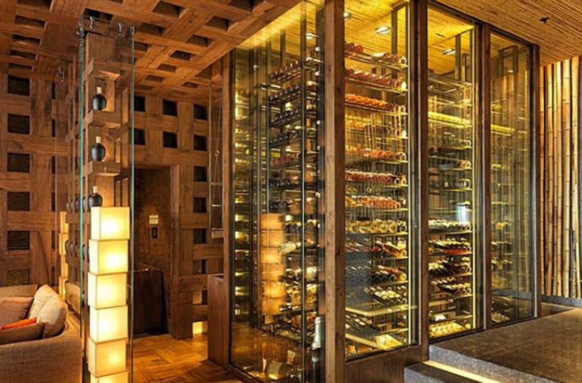 Glass Wine Cellar in Zuma Restaurant
