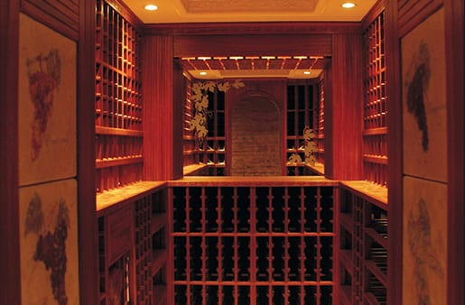 Wine Cellar with Hand Painted Wall Panels