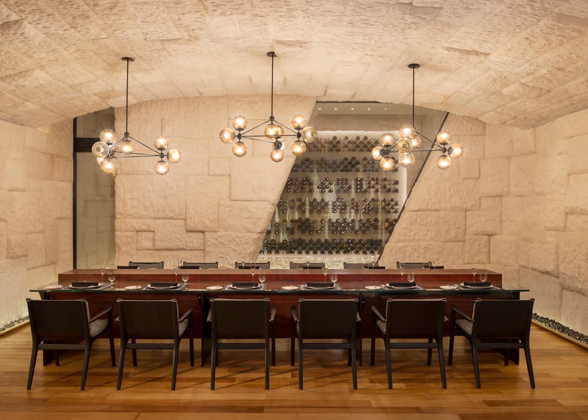 Wine Cellar with Rock Wall in Waldorf Astoria Maldives Hotel
